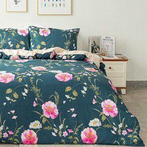 Knot Duvet Cover Set, Green_pinkflower